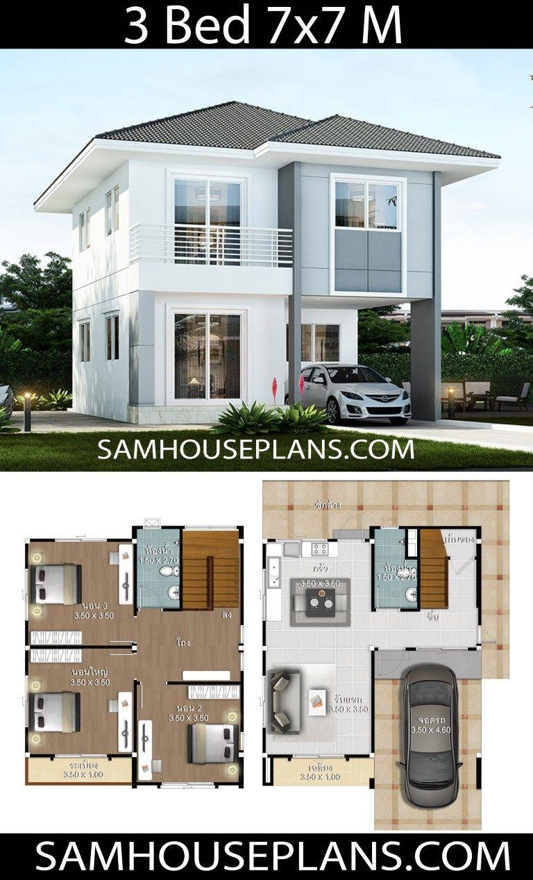 House Plans Idea 7x7 With 3 Bedrooms Sam House Plans House Construction Plan Small House Design Plans Building Plans House