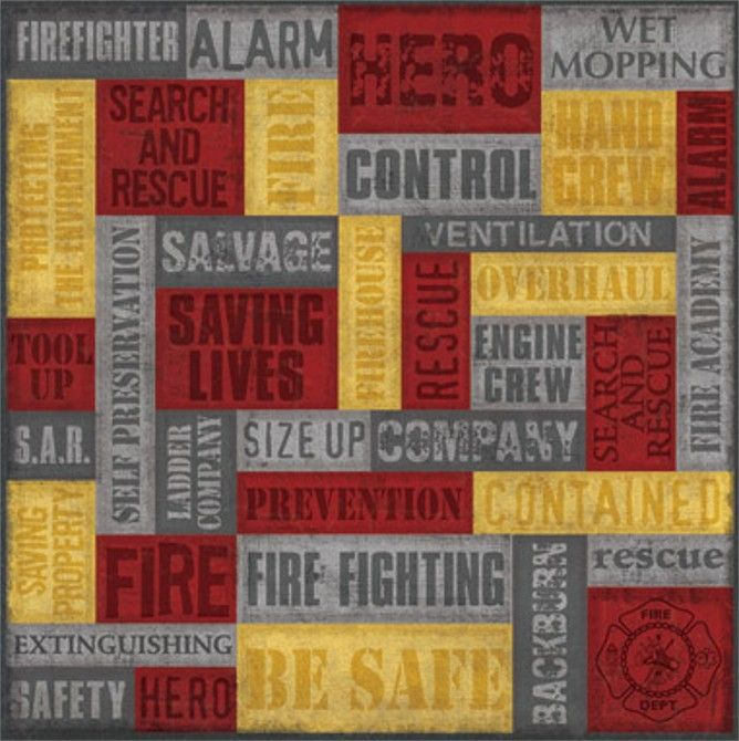 Fireman Firefighter Emt Scrapbook Paper Set 4 Scrapbook Fire