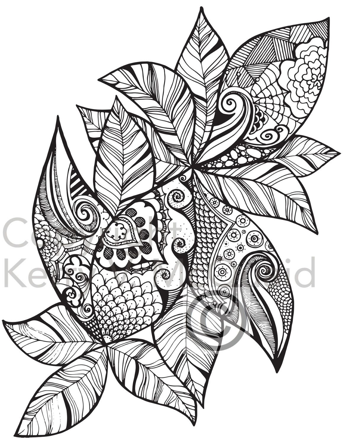 leaf coloring pages for adults - photo#17