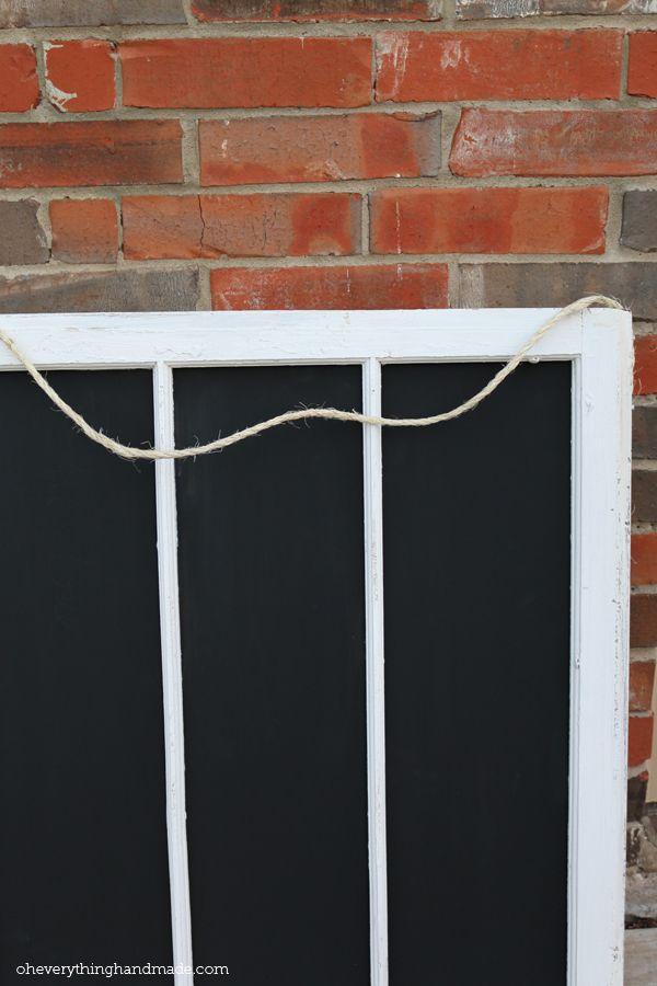 DIY old window frame chalkboard