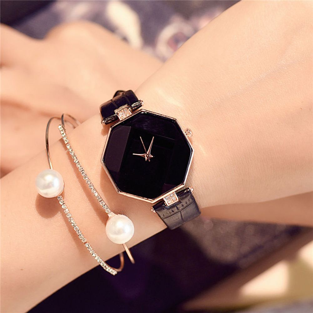 Women Fashion Faux Leather Band Analog Quartz Case Wrist Watch
