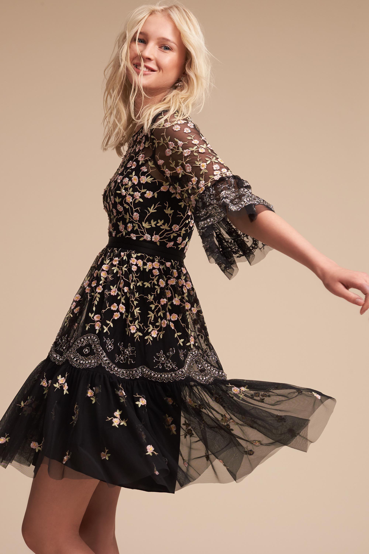 Marimo Dress From Bhldn Sheer Embroidered Dress Wedding Guest Dress Boho Dress Short [ 3000 x 2000 Pixel ]