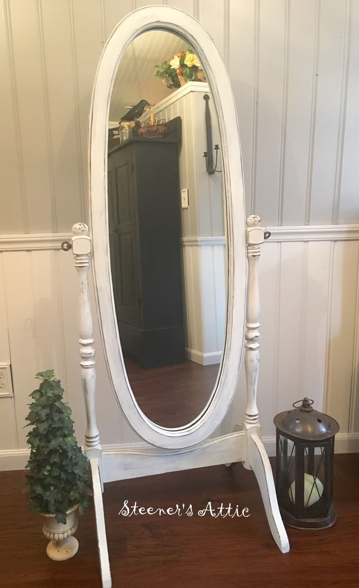 Refinished Vintage Walnut Standing Mirror Distressed Chalk Paint