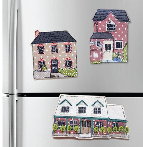 custom mini house magnets a tiny free motion machine embroidery portrait of your home - Unique House Gifts