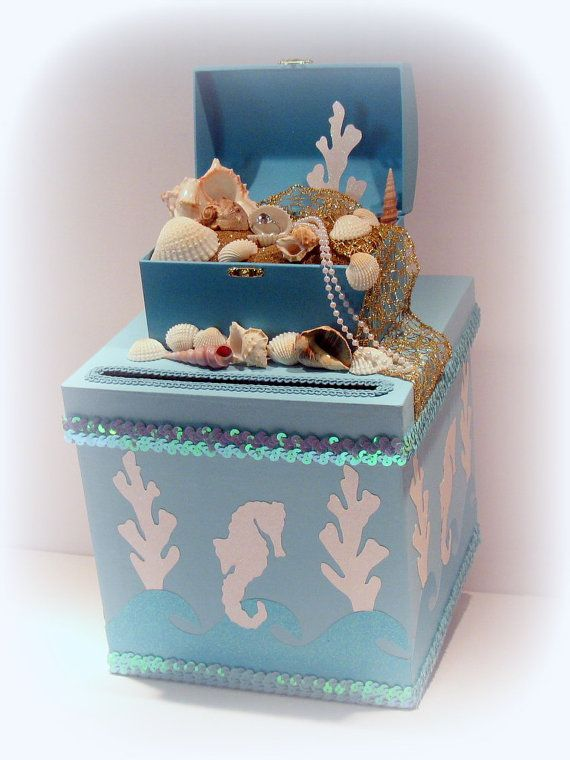 Beach Wedding Card Box Custom Beach Wedding By Uniqueboxboutique