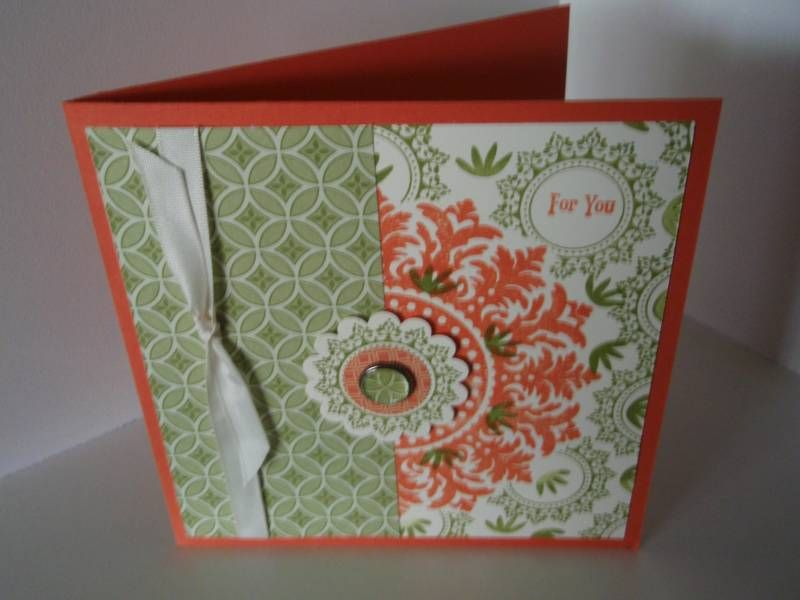 medallion bg 1/2 sticking out w/full center, stamped handmade card