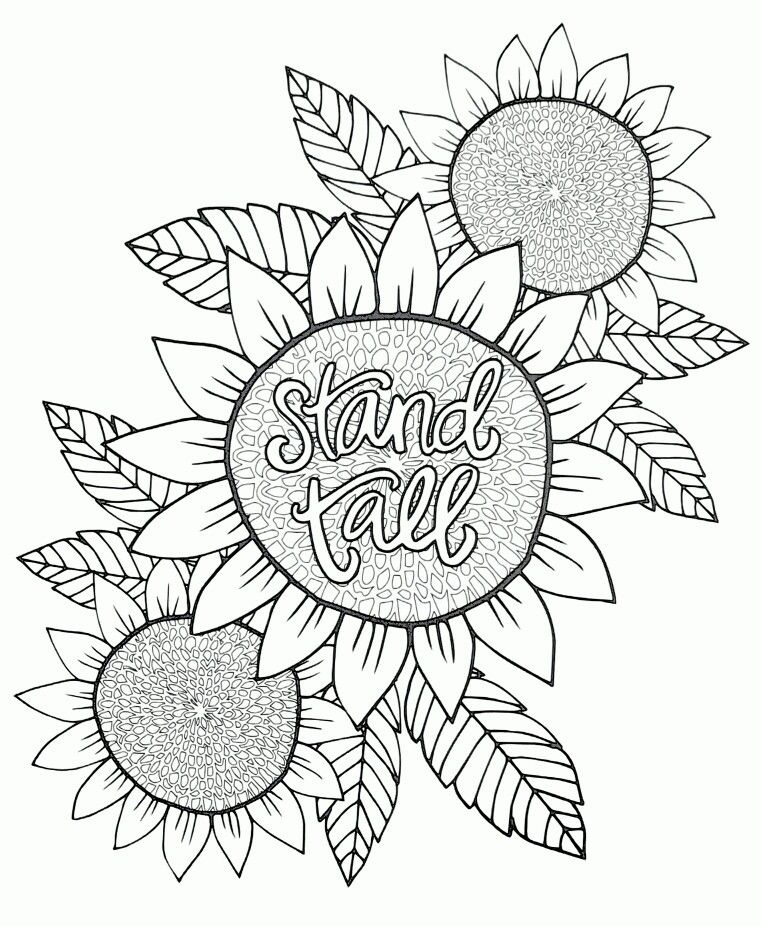 stand tall  sunflower adult coloring page  sunflower