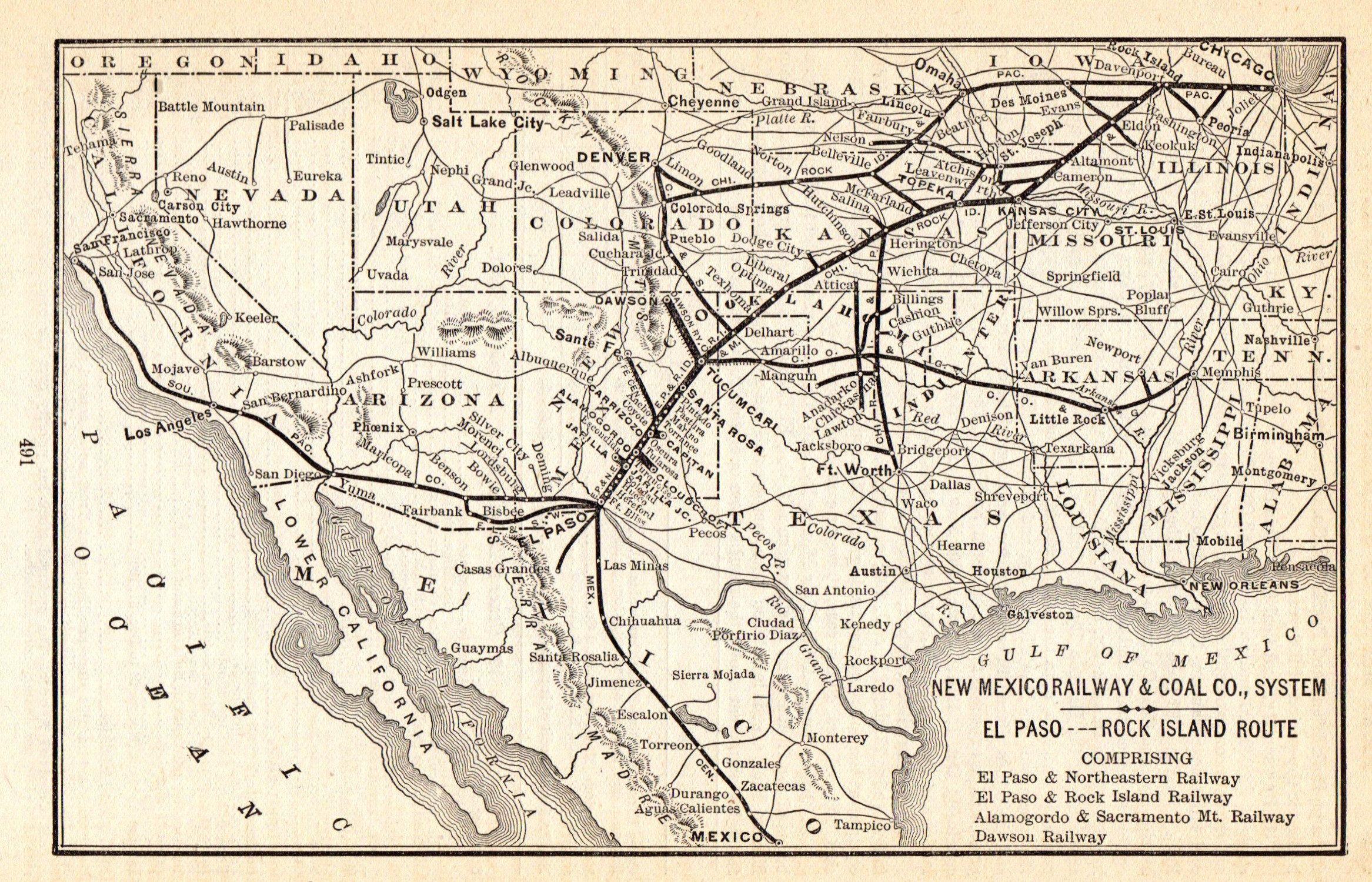 1902 antique new mexico railway and coal company railroad