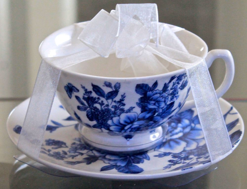 d4555f53a5d GRACE'S TEAWARE TEACUP & SAUCER SET BLUE ROSE FLORAL PORCELAIN NEW  #GRACESTEAWARE
