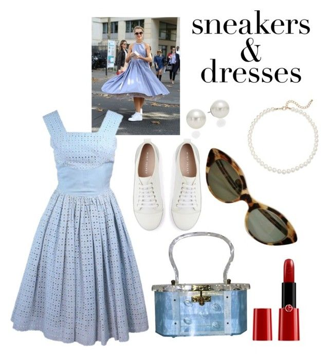 """""""Sneakers and Dresses - vintage style"""" by shistyle ❤ liked on Polyvore featuring Mint Velvet, Saks Fifth Avenue, AK Anne Klein, Giorgio Armani, vintage and SNEAKERSANDDRESSES"""