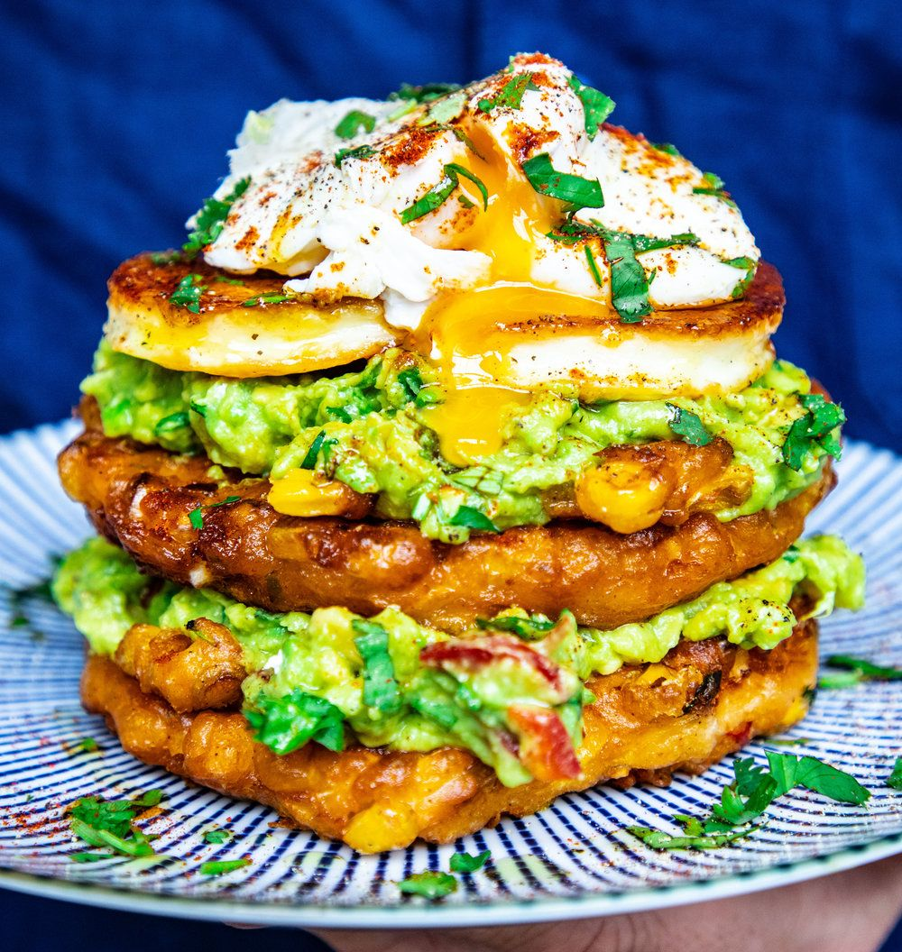 Sweetcorn Lemongrass and Ginger Fritters with Halloumi and Smashed Avocado #sweetcornideas