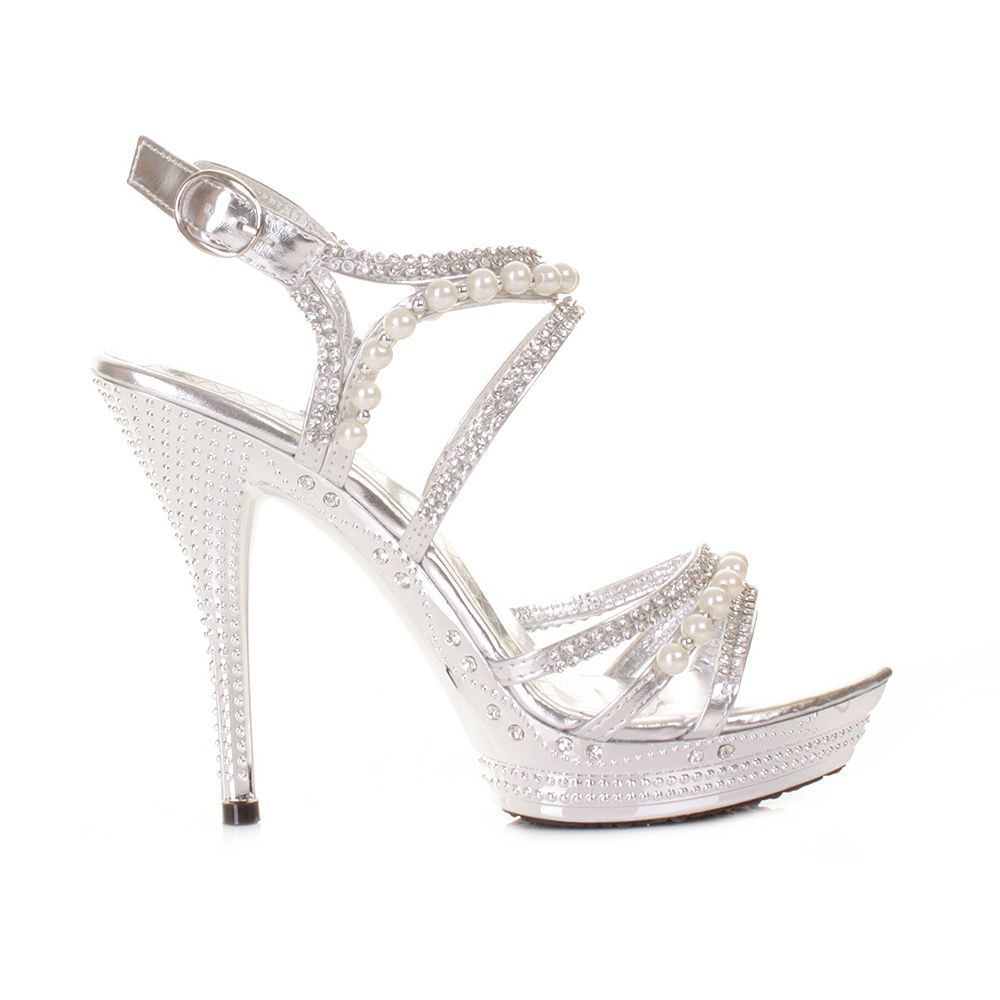 Womens Silver Diamante Wedding Party Pearl High Heel Platform ...