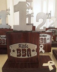 BBQ trophies for a fundraising event.