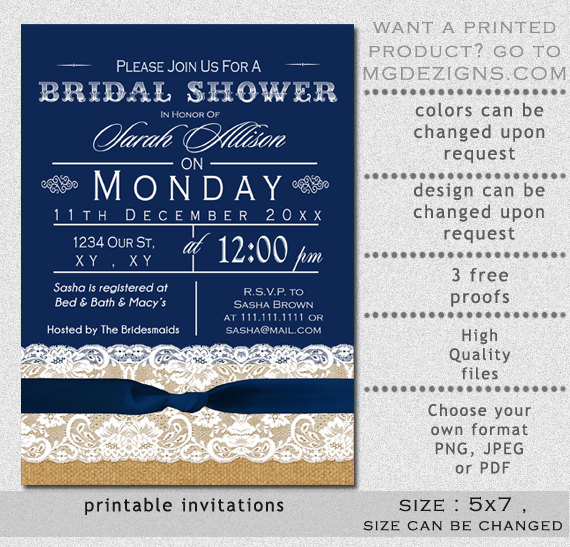 Printable Burlap lace Navy Blue Ribbon Rustic Bridal Shower - free printable wedding shower invitations templates