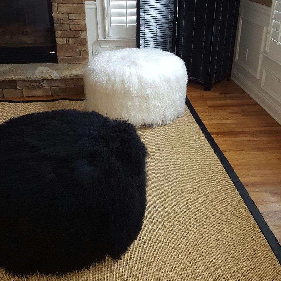 Mongolian Lamb Bench Pouf Extra Large | Wooden leg, Ottomans and Trays