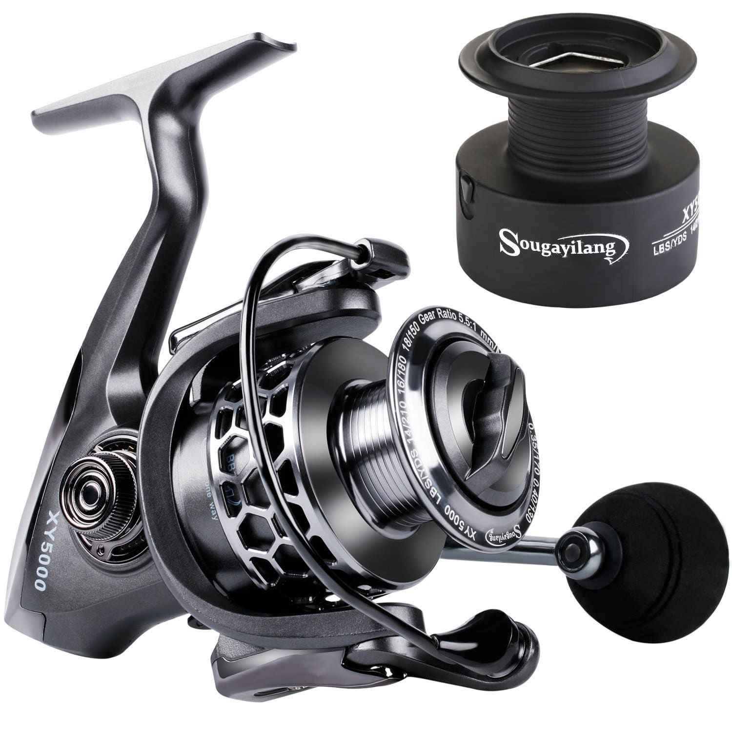 One Bass Fishing reels Light Weight Saltwater Spinning Reel 39.5 LB Carbon...