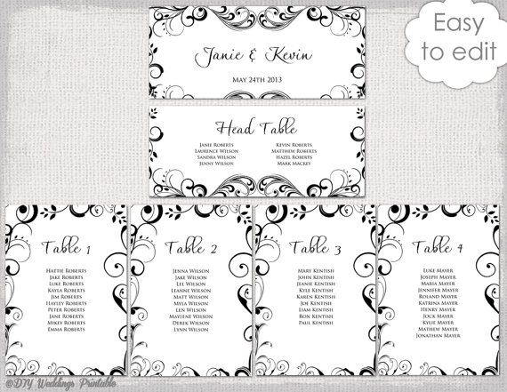 Wedding Seating Chart Template Black And White Scroll Printable Table Plan Cards Diy Editable Wo