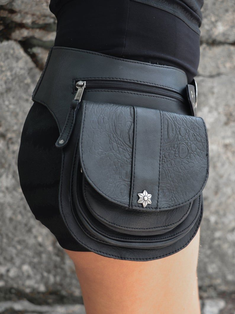 Black leather utility pouch belt with silver shade asanoha studs ISHTAR Bullet by BLACKBOHEM