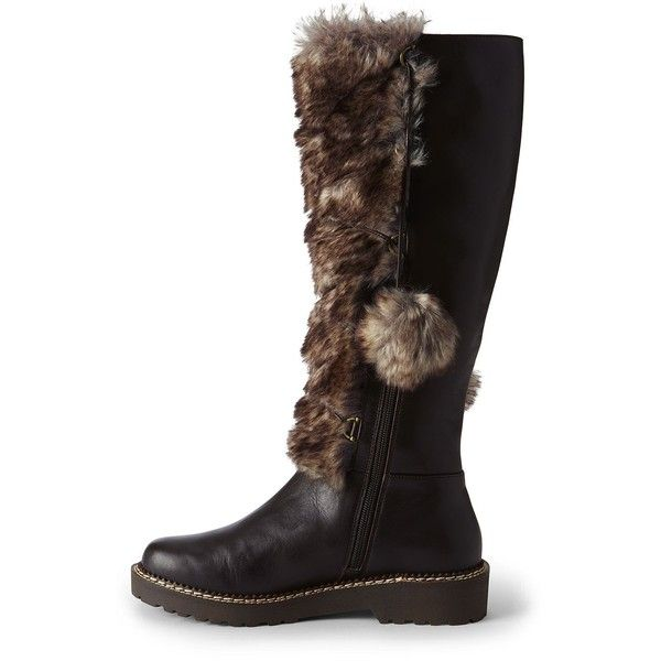 443245f05b5 Canvas by Lands  End Women s Laced Fur Tall Boots ( 100) ❤ liked on  Polyvore featuring shoes