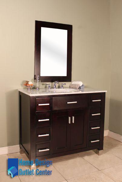 "FW-8016-43-C Hudson 43"" Espresso Single Bathroom Vanity | Cream Marble - Home Design Outlet Center"