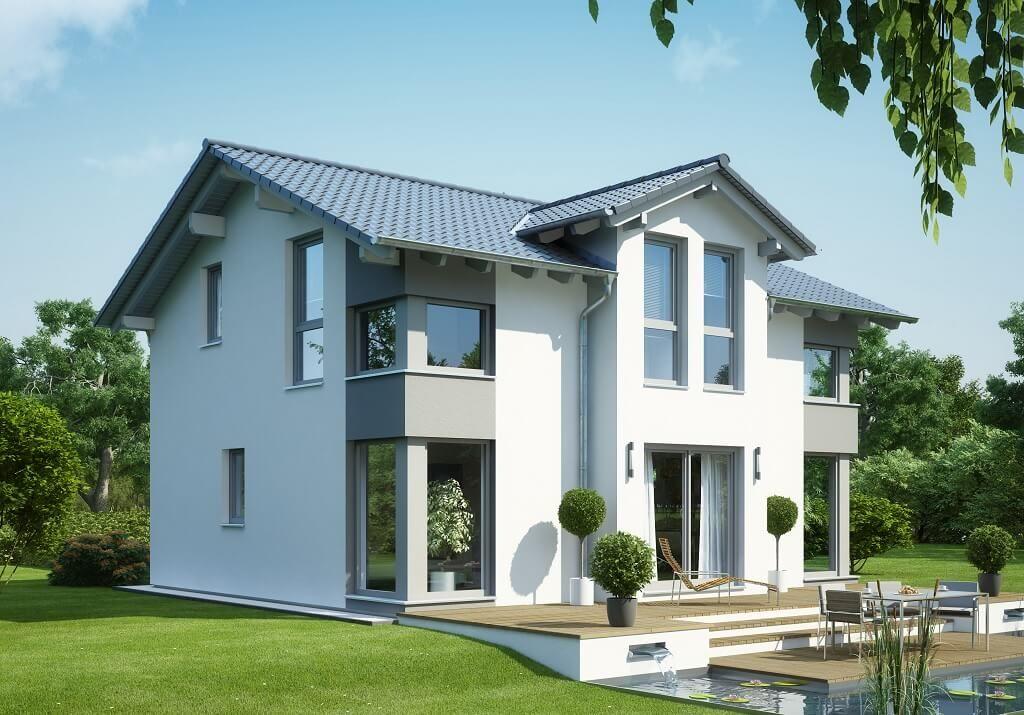 Fassadengestaltung einfamilienhaus weiß  Evolution 125 V4_Bien Zenker_Gartenansicht-Weiß-Grau.jpg | haus ...