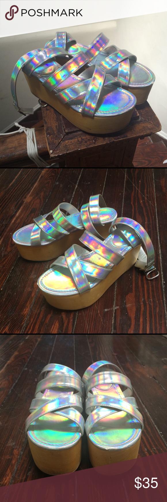 3fc14fa403e9 strappy holographic platform flatform sandals 👽✨✨ holographic strappy  platform sandals purchased in Japan. brand  ulula. size small
