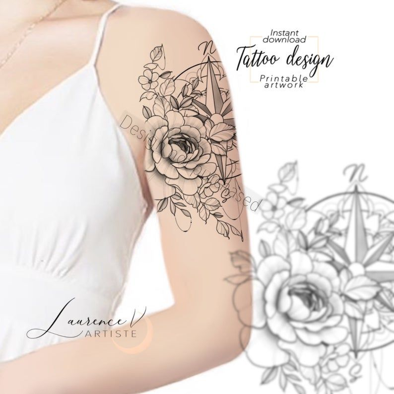 Instant download Tattoo Design | Compass Mandala and ...