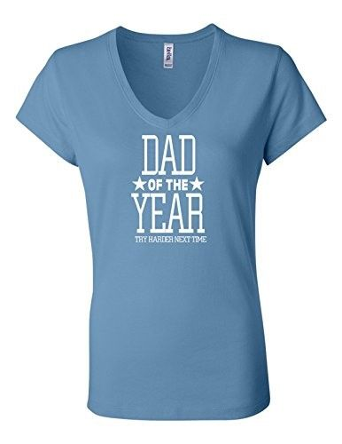 Dad Of The Year LL 6005 Womens Premium V-Neck T-Shirt Humorous T Light Blue  XX-Large, Women's | Products