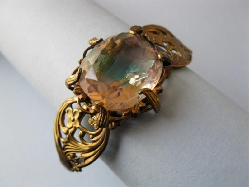 A unique and huge, saphiret glass, cuff bracelet that is from the 1930's - 40's.