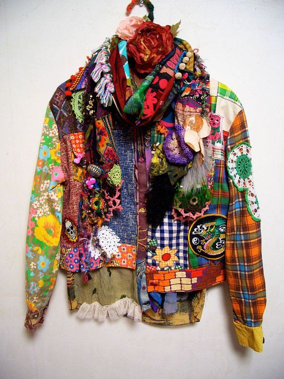 Upcycled Patchwork Hippie Jacket Size Medium By