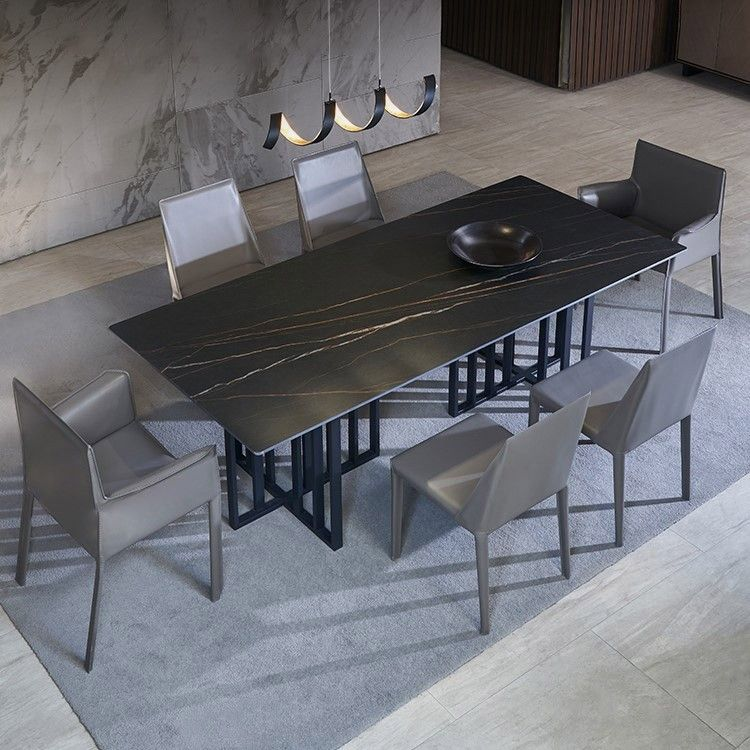 Modern Stone Top 63 Dining Table With Black Base Stone Top Dining Table Stone Dining Table Dining Table