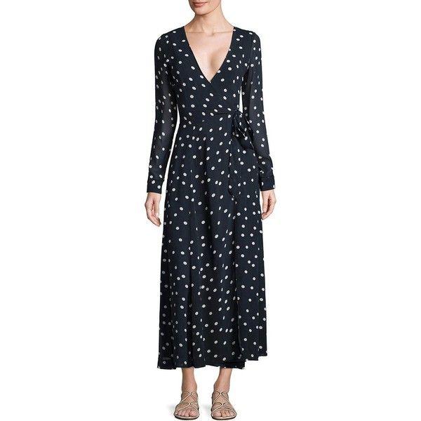 0a4b63fb5535 Ganni Marceau Goergette Wrap Dress ($188) ❤ liked on Polyvore featuring  dresses, polka dot dresses, polka dot midi dress, midi wrap dress, long  sleeve wrap ...