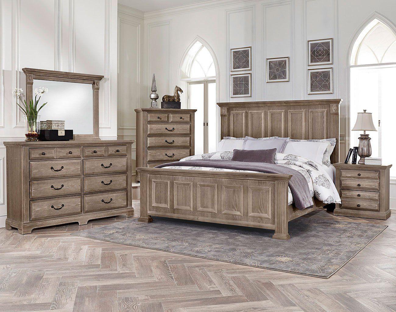 Woodlands mansion bedroom set driftwood in bedroom