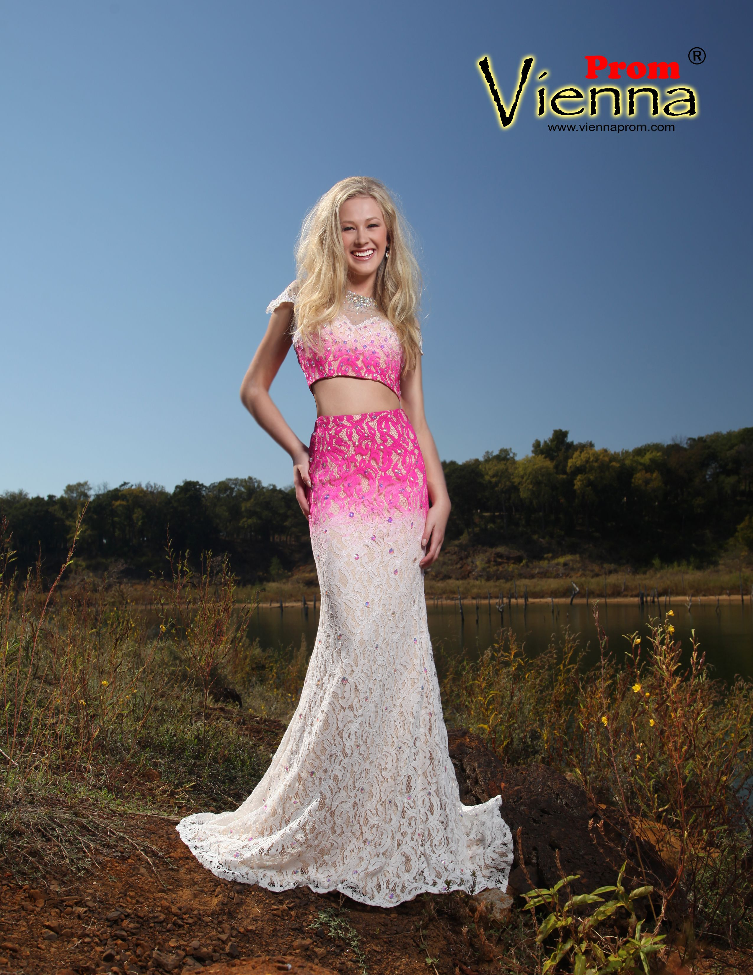 Vienna Prom Dresses available at Hope\'s Bridal. Ombré lace two piece ...