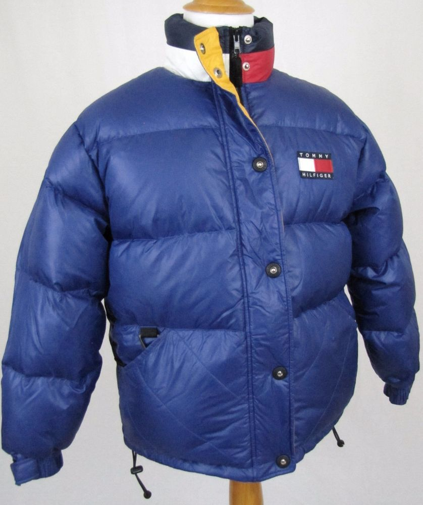 ff2bac1226f8 Tommy Hilfiger Vintage 90 s Puffer Jacket Large Down Feather Bubble ...