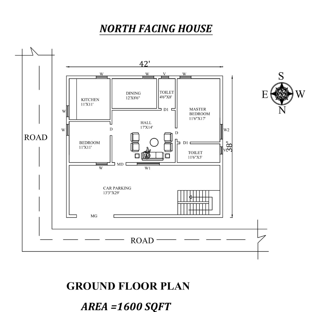 42 X 38 Amazing North Facing 2bhk House Plan As Per Vastu Shastra 2bhk House Plan How To Plan Little House Plans