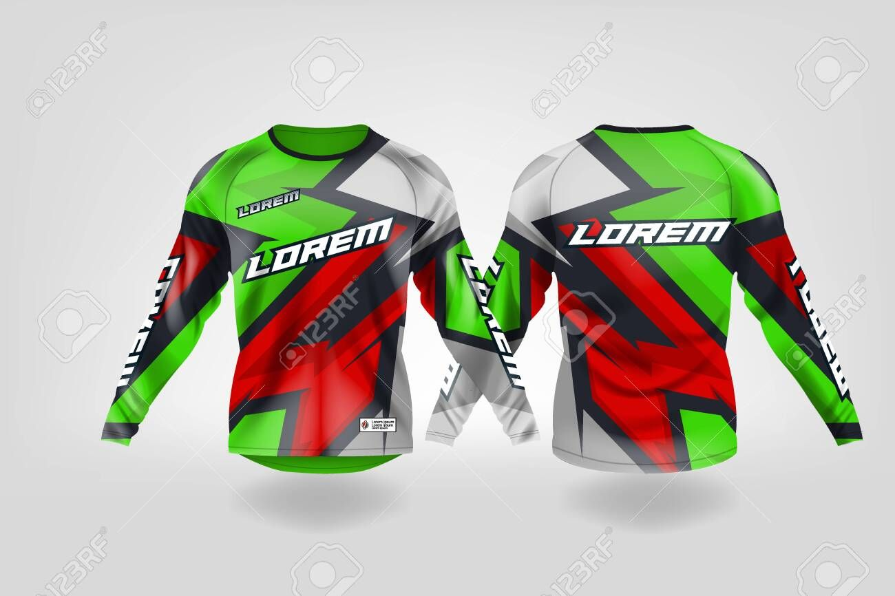 Download T Shirt Sport Design Template Long Sleeve Soccer Jersey Mockup For Football Club Uniform Front And Back View Motocr In 2020 Sports Design Soccer Jersey Football Club