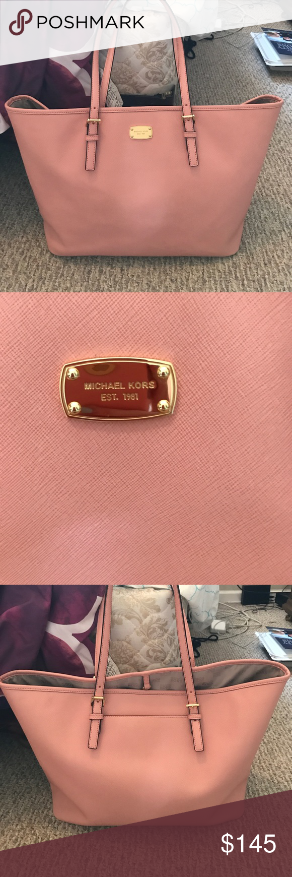 Light Pink Michael Kors tote Beautiful pink MK purse, in great condition, has great storage. Very faded mark towards the corner of the bag, can be removed with MK purse cleaner but I don't have anymore, price reflects Michael Kors Bags Totes