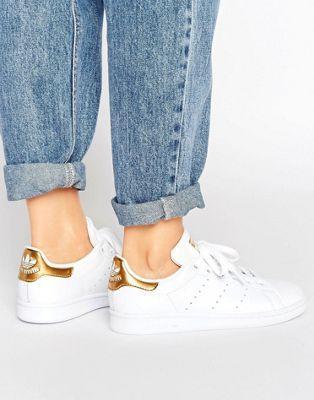 adidas originali in bianco e oro scarpe adidas stan smith
