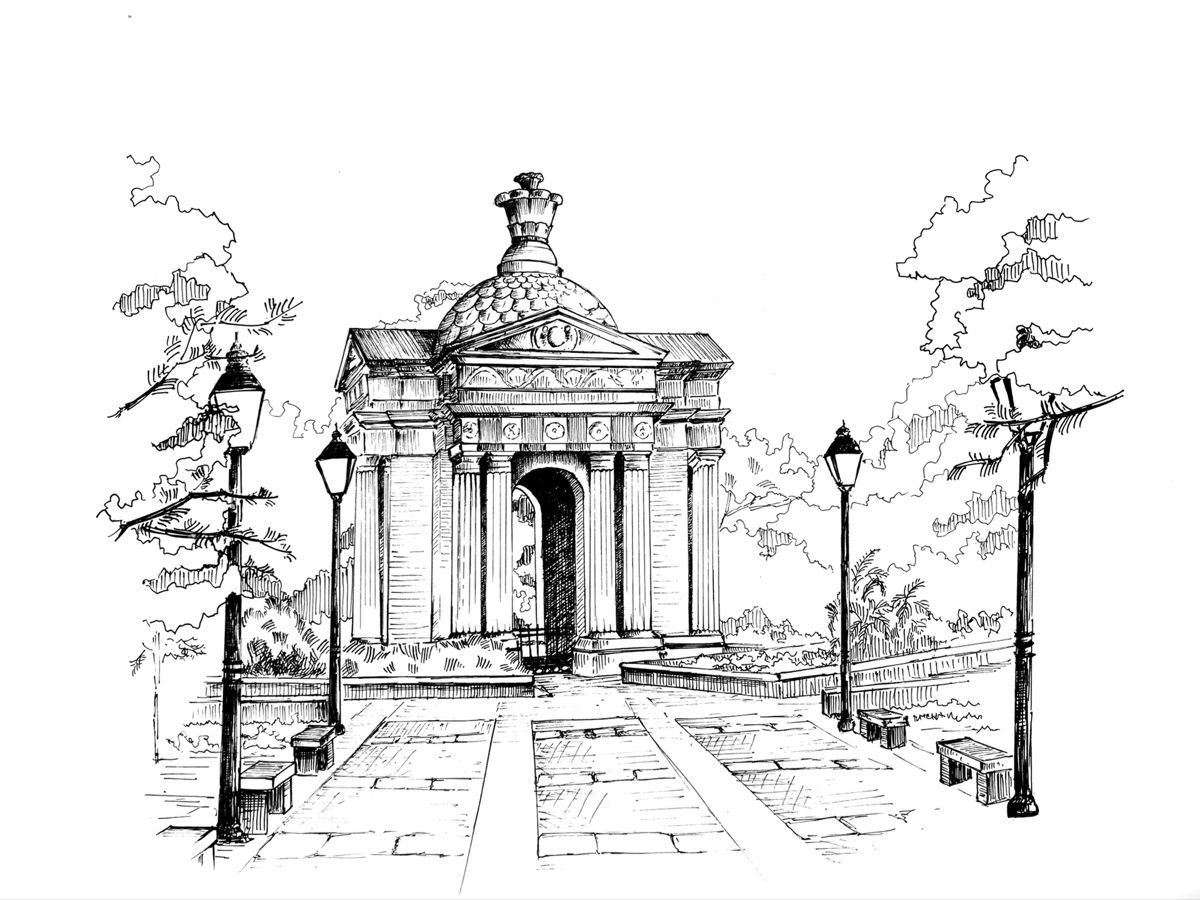 At the centre of the Bharathi Park in Pondicherry - Aayi Mandapam or Park Monument is a pearly white edifice built during the reign of Napolean III, Emperor of France. The monument was built in the honour of the female courtesan Ayi who tore down her own house to build a water reservoir for the city. #sketch #sketchbook #artist #penartist #pigmamicron #penart #pendrawing #penandink #perspectivedrawing #monument #pondicherry #puducherry #blackandwhite #architecturedrawing #archisketcher #sketch_