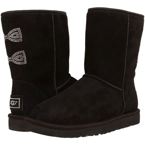 UGG Classic Short Crystal Bow Women's Boots, Black ($165) ❤ liked on Polyvore featuring shoes, boots, ankle boots, black, short heel boots, black platform bootie, short black boots and bootie boots