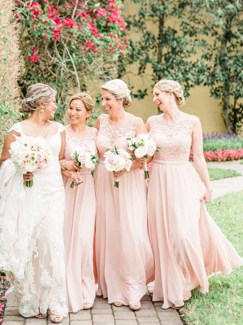 0979311826c Blush Pink Long Bridesmaid Dresses Lace Bodice Blushing Wedding ...