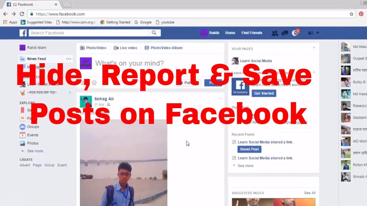 How Do I Hide Post, Report Post, Save Post, Unfollow Friend