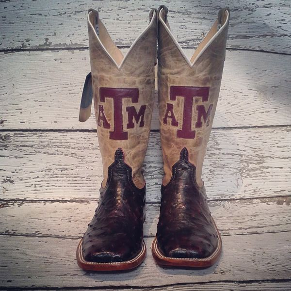 c12d4771e91 Anderson Bean A&M Full Quill Ostrich cowboy boots from Mule Barn ...
