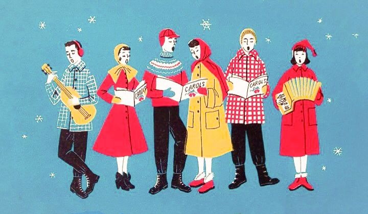 50s Christmas carolers belt it out.