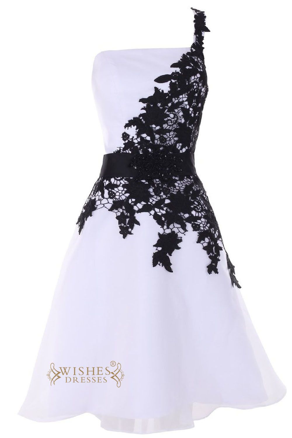 Asymmetrical black lace one shoulder cocktail dress short prom