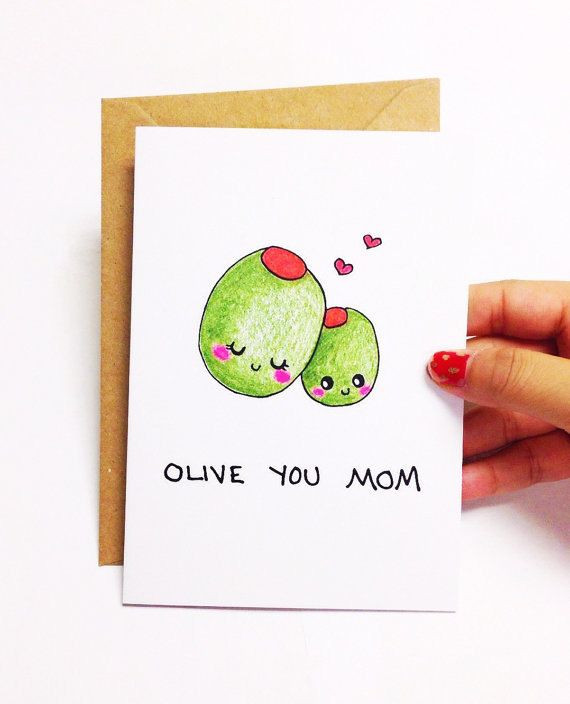 Olive You Mom Design Is Hand Drawn By Yours Truly Using Good Ol Pencil