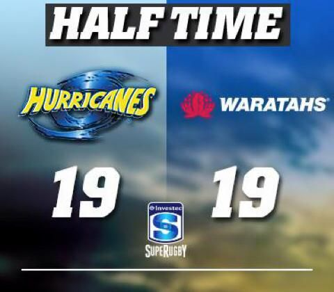 not short of action here at Westpac Stadium ! A bit of an unwanted finish to the first half but some great footy was played. It's pretty physical out there but bring on the next 40! #HURvWAR.jpg