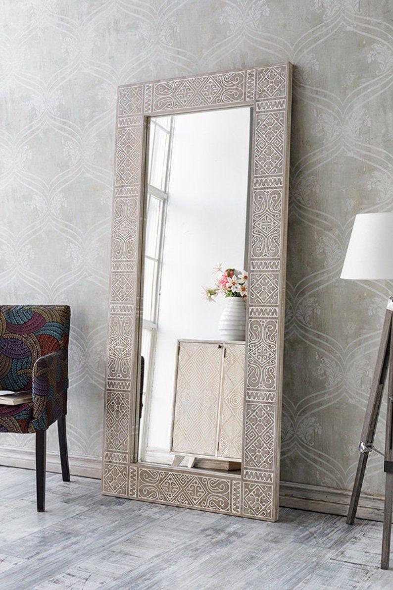Oak Persia Loft Wood Mirror Large Tribal Mirror Large Boho Etsy