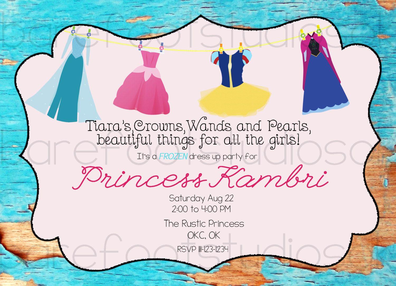 Rustic Frozen Princess Dress Up Birthday Party Invitation 5x7 ...
